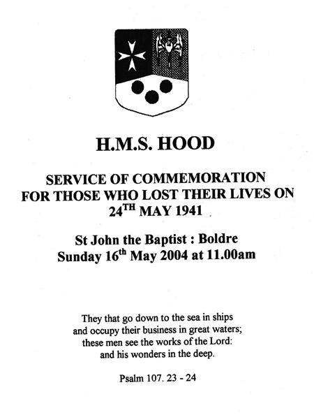 HMS Hood Service notes